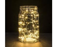 BUYERTIME 5M/16.4Ft 50 LEDs Cadena de Luces Impermeable Flexible de Alambre de Plata con Caja de Batería AA(Batería No Incluye) para Iluminación DIY, Navidad, Fiesta, Decoración - Blanco Cálido