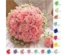10x Flor de Rosas Artificial Espuma Encabeza Ramo de Novia Decoración Partido Hogar Color Marfil