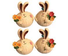 Amosfun 2 Pares de Resina Conejo Estatua Jardín Decoración de Pascua Conejo Pareja Estatua Estatuilla Ornamento para Cocina Hogar Oficina Mesa Decoración