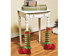 Par Mesa De Navidad Pierna Cubre Elf Elfos Pies Zapatos Piernas Decoraciones Del Partido