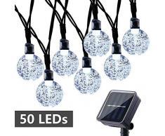 Qedertek Guirnaldas Luces Exterior Solar, Cadena de Bola Cristal Luz para Exterior, 6M 30 LED, Guirnalda Luminosa Impermeable, Luces Decoración para Jardín, Casa, Bodas, Jardine (Blanco)