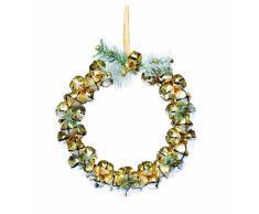 Festive Productions 176007 - Corona decorativa de Navidad (28 cm), diseño de campanas y pinos, color dorado