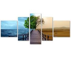 DekoArte Cuadros Modernos Impresión de Imagen Artística Digitalizada, Lienzo Decorativo para Tu Salón o Dormitorio, Estilo Paisaje Mar Desierto Tonos Vivos y Marrones XXL