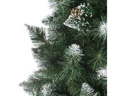 FairyTrees Artificial Árbol de Navidad Pino, Natural Blanco nevado, piñas verdaderas, Soporte de Madera, 180cm