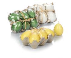 com-four® 18x Vela Huevo de Pascua para decoración - Velas en Forma de Huevos de Pascua - Velas de Huevo para decoración de Pascua (18 Piezas - Verde,Amarillo,Blanco)