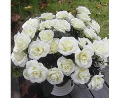 Miryo-1 x Crande Ramo de 12 Rosas Artificiales flores falsas de tela Hydrangea Adorno para Boda Ceremonias Navidad hogar decoración 4 colores (blanco)