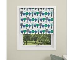 DEBEL - Cortina opaca enrollable, para Niños, diseño de bosque, 100% poliéster, azul, 80 x 175 cm