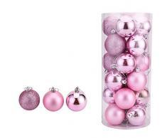 oamore Arte de Belleza Adornos de árbol de Navidad Bolas de Navidad Bola plástica de la decoración del árbol de Navidad de 24PC (Pink, 8cm/ 3.14inch)