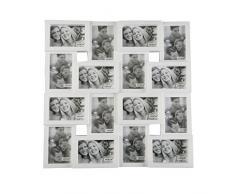 Versa 10830028 Portafotos con 16 ventanas Blanco 23x62x60 cm