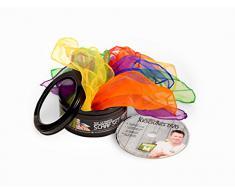 6 pañuelos (malabarista-disfraz-bailar)+ caja de regalo+DVD