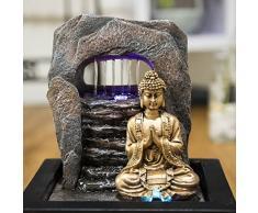 Fuente de agua interior Feng Shui Buda Meditando 25 cm con led multicolor