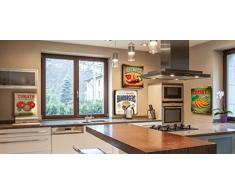 lupia Vintage alimentos pizza sobre lienzo, madera, multicolor, 40 x 40 x 2 cm