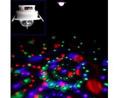 SODIAL(R) Luz de Escena Techo LED RGB 3W Color Completo Automatico Activado por Voz Iluminacion Giratoria para Decoracion de DJ Disco Club Fiesta Bar Casa