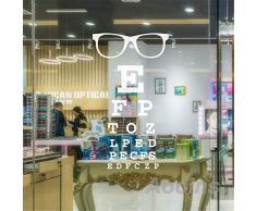 haotong11 Anteojos Carta de Ojo Cartas Arte Tatuajes de Pared Gafas Especificaciones Marcos Vinilo Pegatina Doctor de Ojos Optometría Óptica Tienda Ventana Puerta Decor56 * 33 cm