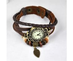 TOOGOO (R) Reloj de Pulsera Cuarzo Banda de Cuero Estilo Antiguo para Chica Mujer - Cafe