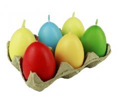 HAAC 6 velas en abrazaderas para los huevos de Pascua huevos de Pascua huevos velas tamaño 6 cm multicolor