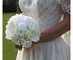 Ramo de Flor Rosa Hortensia Artificial para Novia Boda Nupcial -Blanco