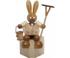 Conejo masculino del conejito de pascua de sin pintar/del marrón que sientan la figura madera de Pascua de las montañas del mineral de la decoración del 19cm OTRA VEZ Pascua