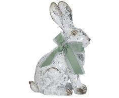 dekojohnson - Conejo Decorativo con Lazo, Conejito de Pascua en Aspecto de hormigón, Figura de jardín, decoración de Pascua Gris Sentado, 21 cm, sonajero, Oreja Larga, Conejo, Pascua