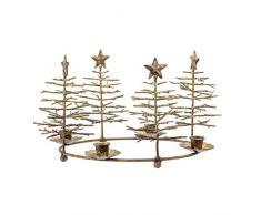 BLOOMINGVILLE - Corona de Adviento, candelabro de Adviento, con abetos - Metal - Diámetro 33 x 17 cm