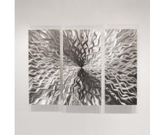 Escultura de pared en metal formada por tres paneles plateados, diseño de arte abstracto contemporáneo