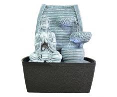 Zen Luz de la pared interior Fuente de Meditación de Buda de piedra gris / negro de 20 x 15 x 24 cm