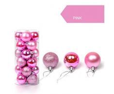 K-youth® 24pcs 3cm Bola Árbol de navidad Navidad Decoración adornos de bolas (Rosa)