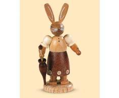 Conejo de Pascua señora coneja, 11 cm. de alto, natural, original de los Montes Metálicos (Erzgebirge) hecho por la empresa Müller del pueblo de Seiffen