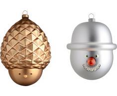 Alessi AMJ14SET7 Pignola e Pazzo di neve árbol de Navidad juego de bolas y 2 pcs