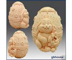 Conejo con decorado huevos de Pascua – 3d jabón/vela/polímero/arcilla/porcelana fría moldes de silicona (