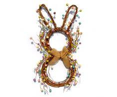 CaCaCook Corona de Conejito de Pascua, Corona de Puerta de Pascua con Colgante de Conejo de Madera Guirnalda Artificial para Accesorios, Guirnalda De Conejo De Ratán Guirnalda De Primavera
