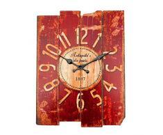 Bluelover Antiguo arte pared reloj madera Vintage reloj Retro casa oficina Cafe Bar decoración rojo