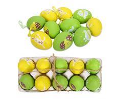 FORMIZON 10 Huevos de Pascua, Colorida Decoración de Pascua, Huevos de Pascua Juguetes Favores de Partido, Ideales para la búsqueda de Huevos de Pascua Manualidades (Amarillo Verde)
