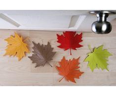 Qualy QL10072R - Tope para puerta, diseño de hoja de otoño (EVA, 14,7 x 18,4 x 3,5 cm), color rojo