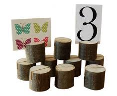 hihoddy soporte 10 unidades soportes para números de mesa para boda lugar de mesa tarjeta foto Clip de mensaje de madera para el hogar decoraciones de fiesta