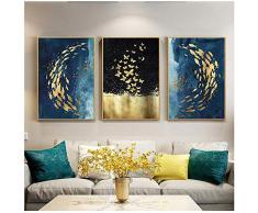 Cuadro en lienzo Pez dorado Mariposa Arte de la pared Carteles e impresiones abstractos Cuadros de pared para la decoración de la sala de estar 50x70cm Con marco azul