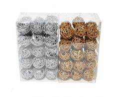 30 bolas de ratán 5 cm con purpurina bolas de ratán caja de dinero Pack de 3), ratán, gold (Glitter), 5 cm