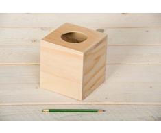 Artemio - Caja dispensadora de pañuelos (madera, 14 x 13 x 13 cm), color beige
