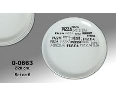 "Supernova Decoracion-Set 4 platos para pizza decorados con letras en negras ""PIZZA"" Medidas 20 cm"