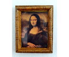 Accesorio Miniatura Casa De Muñecas Mona Lisa Cuadro cuadro en Marco De Madera