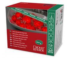 Konstsmide guirnalda LED, rojo bolas de algodón, tamaño pequeño, 16 diodos rojos, 24 V transformador interno, cable transparente 3135-553