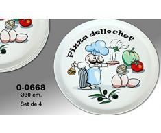"Supernova Decoracion-Set 4 platos para pizza decorados con dibujos de colores y palabra ""PIZZA DELLO CHEF"" . Medidas 30 cm"