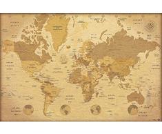 Grupo Erik Editores Mapa Mundo Es Vintage - Poster, 61 x 91.5 cm