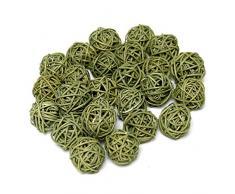 72 ratán bolas de color verde 3 cm, en bolsa de bajo precio/TOP
