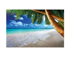 GREAT ART XXL Póster – Playa Palmera – Decoración Mural Sueño Caribeño Playa Bahía Paraíso Naturaleza Isla Palmeras Trópicos Cielo Azul Póster De Pared Póster Fotográfico 140 x 100 cm
