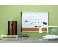 Rexel - Organizador mensual magnético y tablero corcho (585 x 430 mm), color blanco y marrón