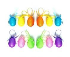 12 x tamaño grande para colgar huevos de Pascua Hunt de purpurina brillante regalo Craft Decoración Accesorios