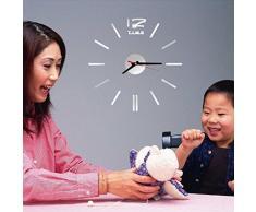 Malloom® Mini Moderno DIY Reloj de pared de la etiqueta engomada 3D Adorno para Hogar (plata)