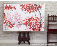 Cuadro al óleo pintado a mano con marco - Árbol florecido - 124 x 84 cm