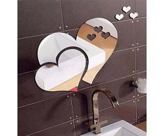 LuckES DIY 3D Acrílico Espejo Decorativo Pegatinas de Pared de la Forma del corazón Espejo pared Adhesivo Mural Extraíble,Diseño de Hada y Mariposas Pegatinas Interior Mural Pegatina (Plata)
